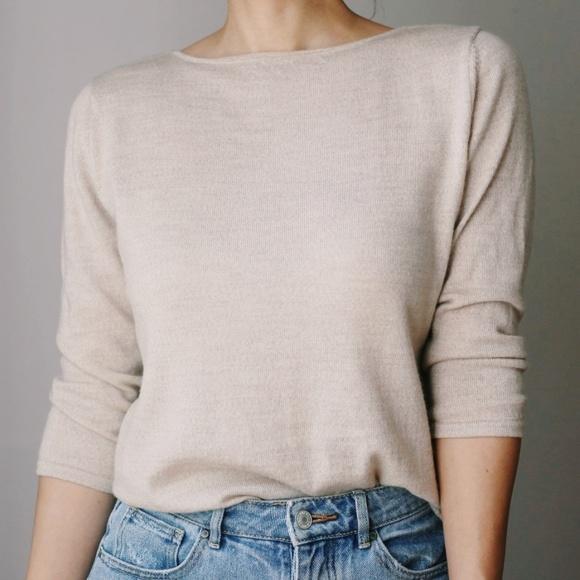 Vintage Sweaters - Vintage 100% Merino Wool Boat Neck Sweater Oat